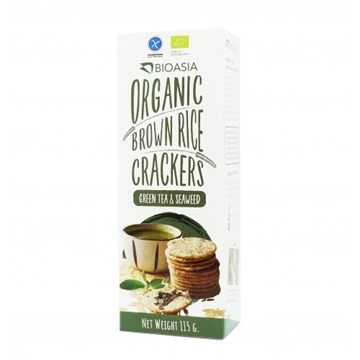 Picture of BioAsia Organic Brown Rice Crackers with Green Tea and Seaweed (115g)