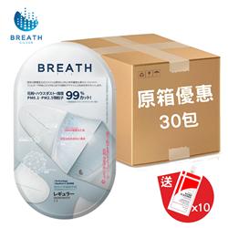 Breath Silver Fit Regular Adult 99% Antibacterial Mask (3 pcsx30 packs) (Made in Korea)