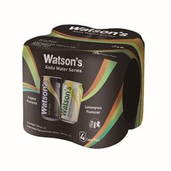 Watson's 屈臣氏蘇打水 + 檸檬草味蘇打水 330毫升  4罐 x 6件