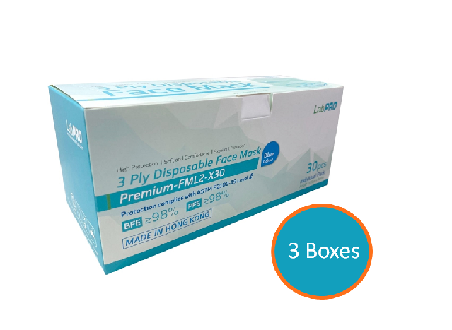 LabPro 3 Ply Disposable Face Mask ASTM Level 2 30pcs  3Boxes