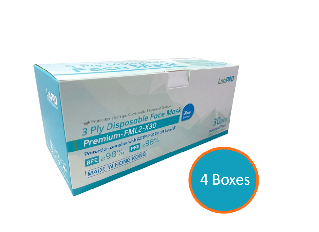 LabPro 3 Ply Disposable Face Mask ASTM Level 2 30pcs  4Boxes