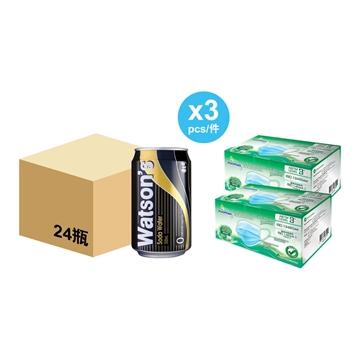 图片  屈臣氏苏打水 (24罐 x 3箱) + WatsMask ASTM LEVEL 3 口罩 (30个独立包装) 2盒