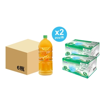 Picture of Mr. Juicy 2L Orange Juice Drink (Gold Catering pack) x 2 cases + WatsMask ASTM Level 3 Mask x 2