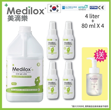 Picture of Medilox - B (Baby formulation) Sanitizer 4 Liter + 80ml x 4 with Purebble Hand Sanitizer x 1