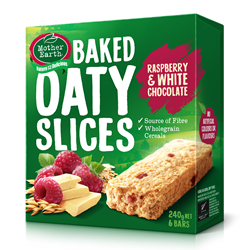 Mother Earth New Zealand Baked Oaty Slices Raspberry & White Chocolate 240gm