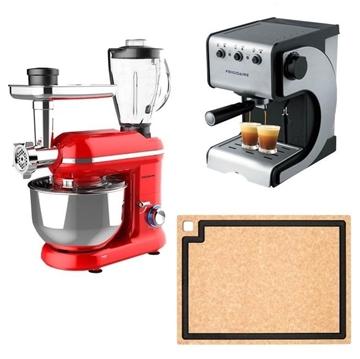 圖片 家居廚房特惠套裝福袋 (Frigidaire特濃咖啡機+Frigidaire打蛋機, 攪拌機和絞肉機+Epicurean美國艾美防霉砧板)