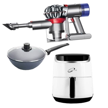 Picture of Dyson Special Lucky Bag (DYSON V7 TRIGGER HANDHELD VACUUM CLEANER + Tastec DIGITAL AIR FRYER  + WOLL Saphir Lite MINI WOK W/GL, FIXED HANDLE, INDUCTION)