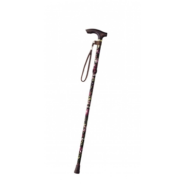Picture of TacaoF Retractable Floral Pattern Walking Stick (Red/Black/Dark Blue)