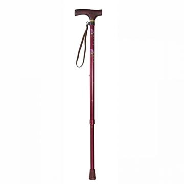銀適 優雅木製拐杖 腰果花