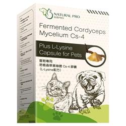 NATURAL PRO Fermented Cordyceps Mycelium Cs-4 plus L-Lysine Capsule for Pets 60 Capsules