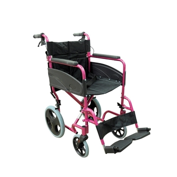 Picture of Aidapt Compact Transport Aluminium Wheelchair (Black/Pink)