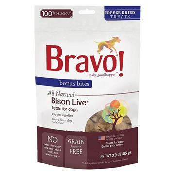 Picture of Bravo Bonus Bites® Freeze Dried Bison Liver Treats For Dogs 85g