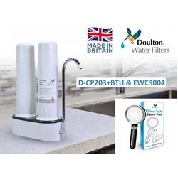 Doulton 道爾頓 M12 系列 DCP203 + BTU2501及EWC9004 + 沐浴過濾花灑 雙濾芯枱上式濾水器